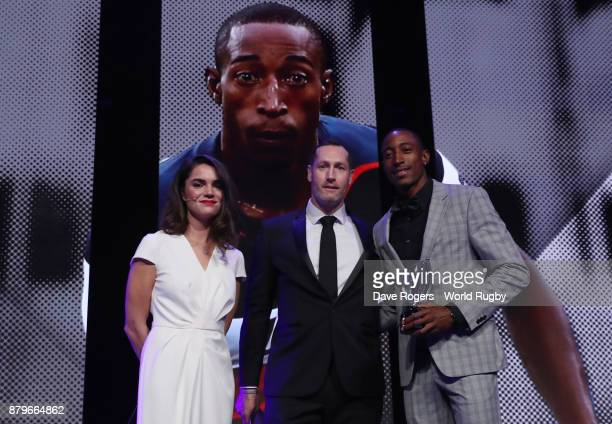 Perry Baker of the United States poses with the World Rugby via Getty Images Men's Sevens Player of the Year Award in association with HSBC during...
