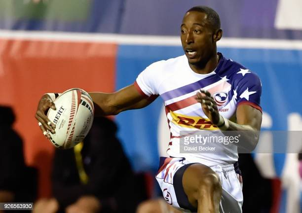 Perry Baker of the United States runs with the ball against Australia during the USA Sevens Rugby tournament at Sam Boyd Stadium on March 2, 2018 in...