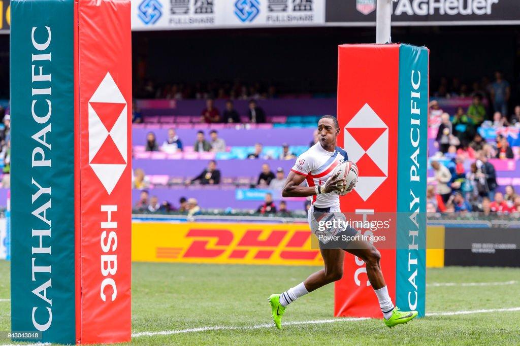 Perry Baker of USA scores a try during the HSBC Hong Kong Sevens 2018 match between USA and Wales on April 7, 2018 in Hong Kong, Hong Kong.
