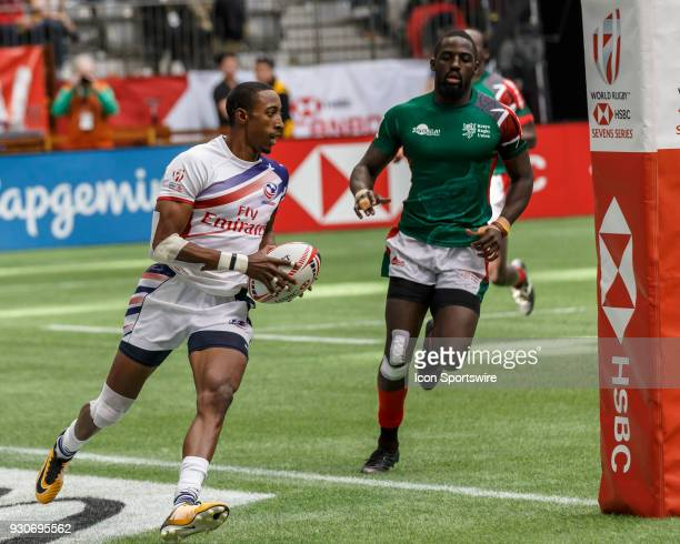 Perry Baker of USA scores during Game United States vs Kenya Cup SF 2 match at the Canada Sevens held March 1011 2018 in BC Place Stadium in...