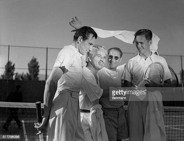 Perry Chaplin Beat Vines and Marx Beverly Hills California In a hard fought hard clowned match Fred Perry and Charlie Chaplin defeated Ellsworth...