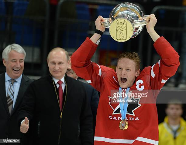 Perry Corey of Canada celebrates victory after IIHF Ice Hockey World Championship gold medal match between Finland and Canada at VTB Ice palace in...