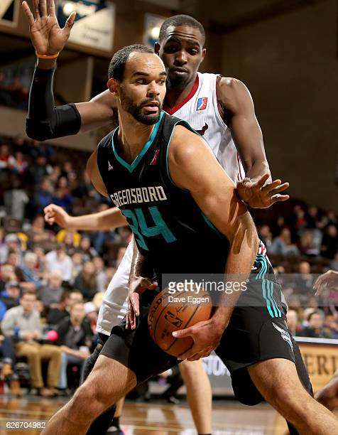 Perry Ellis of the Greensboro Swarm looks for help while being pressured by Vashil Fernandez from the Sioux Falls Skyforce at the Sanford Pentagon...