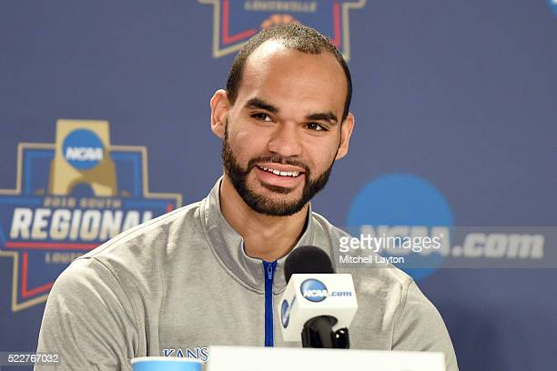 Perry Ellis of the Kansas Jayhawks addresses the media in media day before the quarterfinal of the 2016 NCAA Men's Basketball Tournament against the...