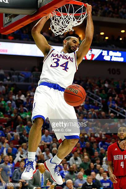 Perry Ellis of the Kansas Jayhawks dunks in the second half against the Austin Peay Governors during the first round of the 2016 NCAA Men's...