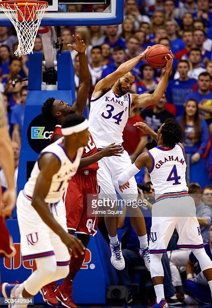Perry Ellis of the Kansas Jayhawks grabs a rebound during the game against the Oklahoma Sooners at Allen Fieldhouse on January 4 2016 in Lawrence...
