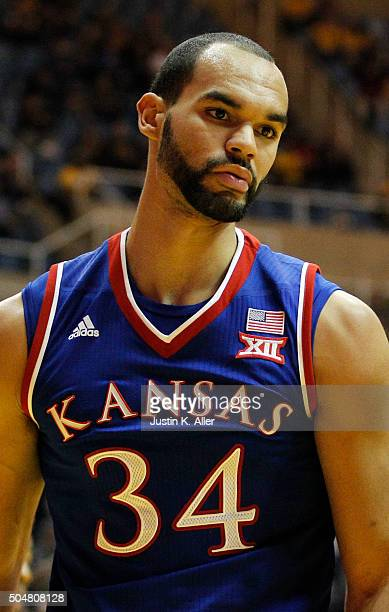 Perry Ellis of the Kansas Jayhawks in action during the game against the West Virginia Mountaineers at the WVU Coliseum on January 12 2016 in...