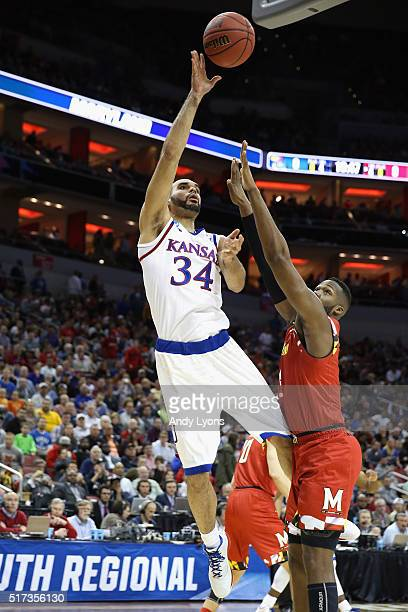 Perry Ellis of the Kansas Jayhawks shoots the ball in the first half against the Maryland Terrapins during the 2016 NCAA Men's Basketball Tournament...