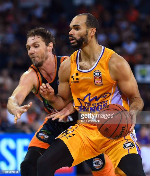 Perry Ellis of the Kings drives to the basket past Alex Loughton of the Taipans during the round 17 NBL match between the Cairns Taipans and the...