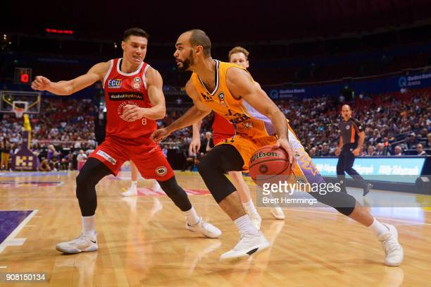 Perry Ellis of the Kings drives towards the basket during the round 15 NBL match between the Sydney Kings and the Perth Wildcats at Qudos Bank Arena...