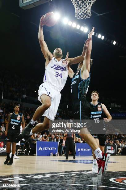 Perry Ellis of the Kings goes up against Kirk Penney of the Breakers during the round three NBL match between the New Zealand Breakers and the Sydney...