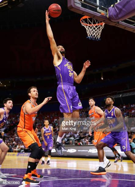 Perry Ellis of the Kings rebounds during the round eight NBL match between the Sydney Kings and the Cairns Taipans at Qudos Bank Arena on November 30...