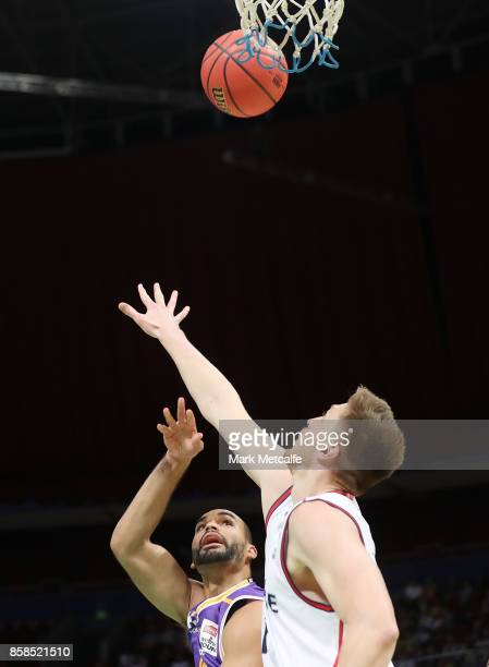 Perry Ellis of the Kings shoots during the round one NBL match between the Sydney Kings and the Adelaide 36ers at Qudos Bank Arena on October 7 2017...