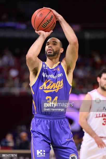 Perry Ellis of the Kings shoots during the round two NBL match between the Sydney Kings and the Illawarra Hawks at Qudos Bank Arena on October 15...