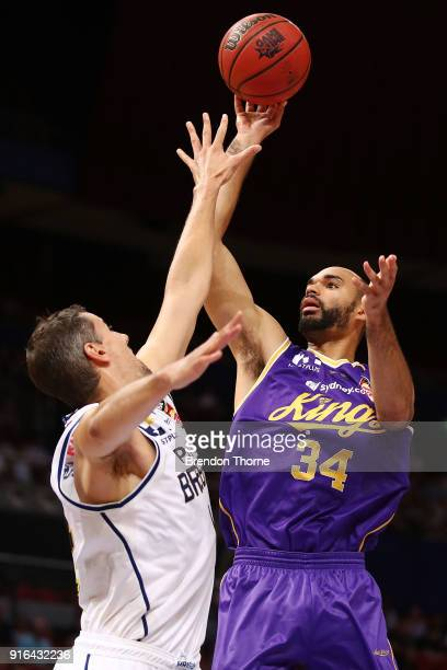Perry Ellis of the Kings shoots over Adam Gibson of the Bullets during the round 18 NBL match between the Sydney Kings and the Brisbane Bullets at...