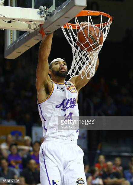 Perry Ellis of the Kings slam dunks the ball during the round seven NBL match between the Illawarra Hawks and the Sydney Kings at Wollongong...