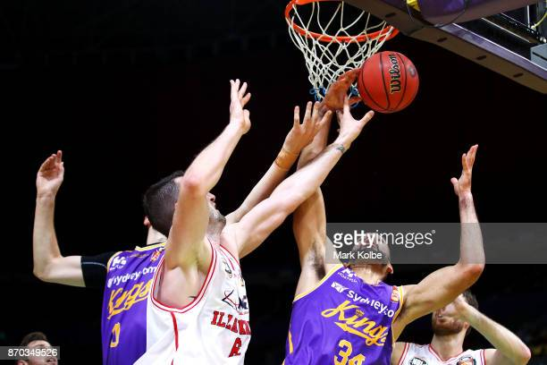Perry Ellis of the Kings wins the ball under the hoop during the round five NBL match between the Sydney Kings and the Illawarra Hawks at Qudos Bank...