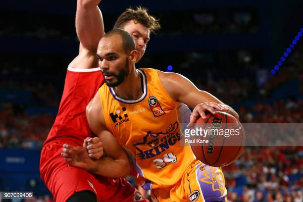 Perry Ellis of the Kings works to the basket against Angus Brandt of the Wildcats during the round 15 NBL match between the Perth Wildcats and the...
