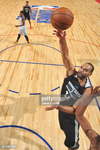Perry Ellis of the Minnesota Timberwolves shoots the ball against the Denver Nuggets during the 2017 Las Vegas Summer League on July 9 2017 at the...