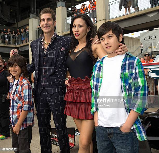 Perry Farrell and his wife and family of the Alternative rock band Jane's Addiction attends the 2015 Indy 500 at Indianapolis Motorspeedway on May 24...