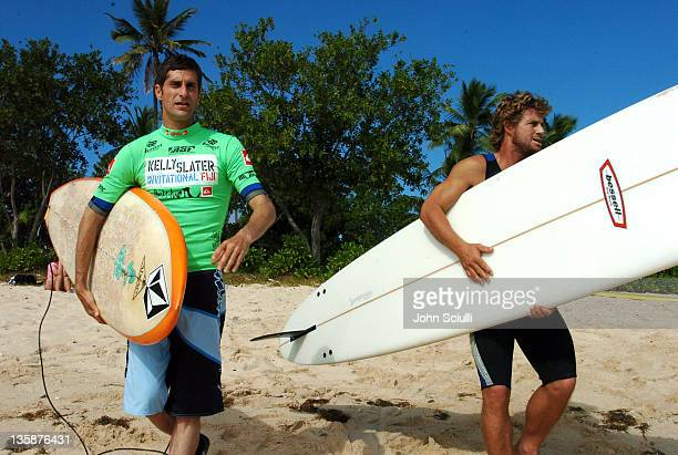 Perry Farrell and Mark Occhilupo during Kelly Slater Invitational Fiji Day 4 Celebrity ProAm Presented by Quiksilver at Restaurants in Tavarua Island...