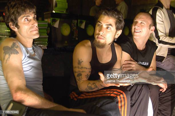 Perry Farrell Dave Navarro and Stephen Perkins of Jane's Addiction take a break from their Lollapalooza rehearsal to play on Xbox