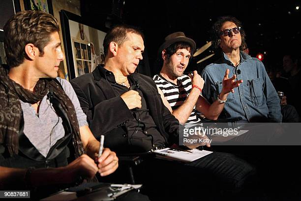 Perry Farrell Mark Didia Sam Adicott and Mick Rock judge the battle of the bands at the Free The Noise Party during MercedesBenz Fashion Week Spring...