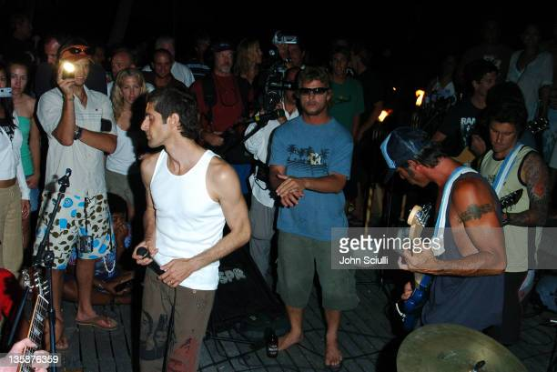 Perry Farrell Mark Occhilupo and Tavarua boatmen during Kelly Slater Invitational Fiji Day 3 Dinner and Party at Namotu Resort at Namotu Resort in...