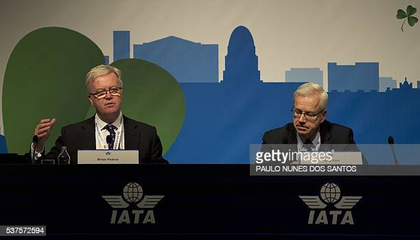 Perry Flint Assitant Director of Corporate Communications for International Air Transport Association listens as Brian Pearce Chief Economist for the...