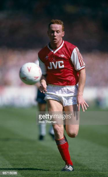 Perry Groves of Arsenal in action during the Littlewoods Cup Final between Arsenal and Luton Town held at Wembley Stadium London on 24th April 1988...