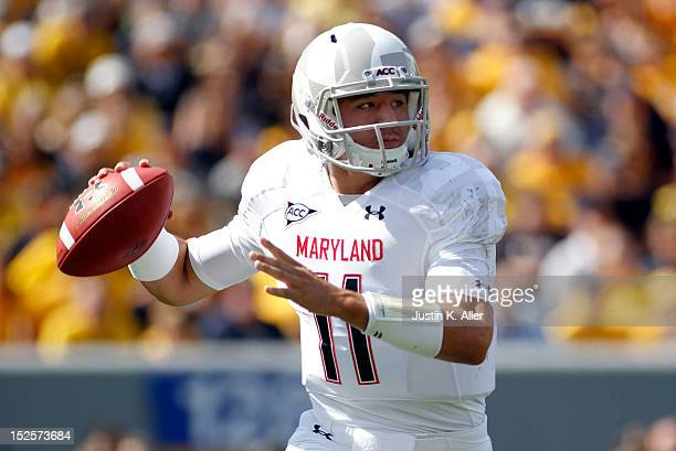 Perry Hills of the Maryland Terrapins drops back to pass against the West Virginia Mountaineers during the game on September 22 2012 at Mountaineer...