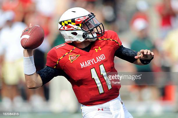 Perry Hills of the Maryland Terrapins throws a pass against the William Mary Tribe at Byrd Stadium on September 1 2012 in College Park Maryland