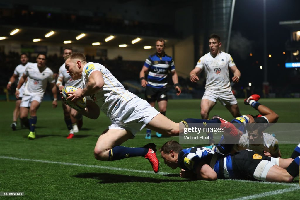 Perry Humphreys of Worcester dives over for a try during the Aviva Premiership match between Worcester Warriors and Bath Rugby at Sixways Stadium on January 5, 2018 in Worcester, England.