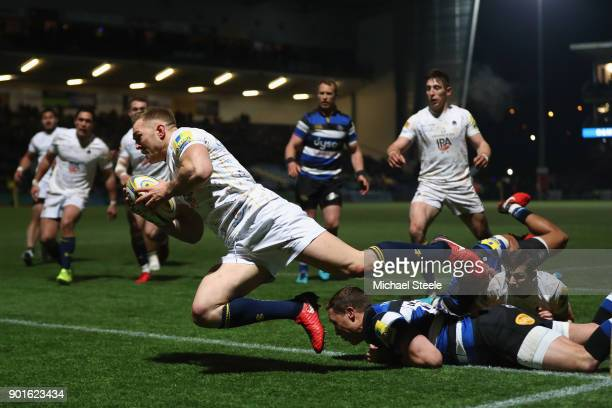 Perry Humphreys of Worcester dives over for a try during the Aviva Premiership match between Worcester Warriors and Bath Rugby at Sixways Stadium on...