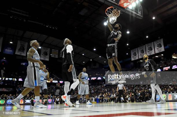 Perry Jones III of the Enemies dunks the ball in the second half against the Power during week seven of the BIG3 three on three basketball league at...