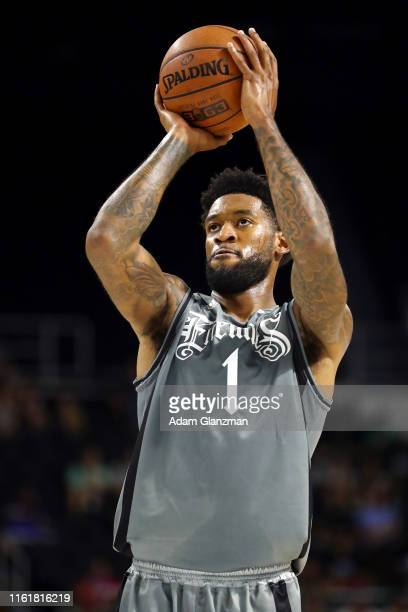 Perry Jones III of the Enemies shoots a free throw against the Aliens during week four of the BIG3 three on three basketball league at Dunkin' Donuts...