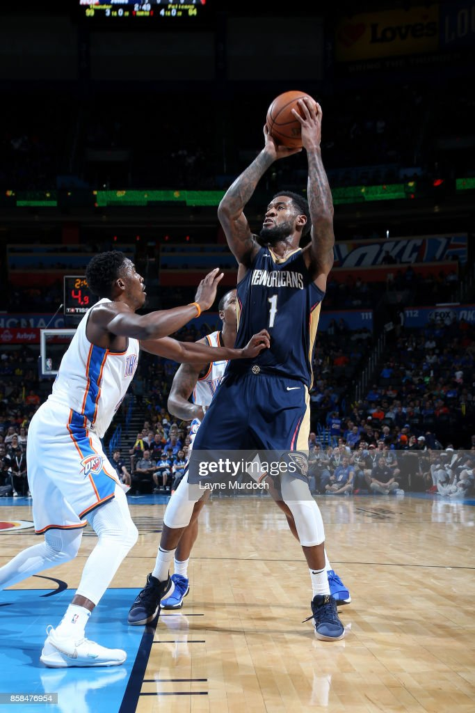 Perry Jones #1 of the New Orleans Pelicans shoots the ball during the game against the Oklahoma City Thunder during a preseason game on October 6, 2017 at Chesapeake Energy Arena in Oklahoma City, Oklahoma.