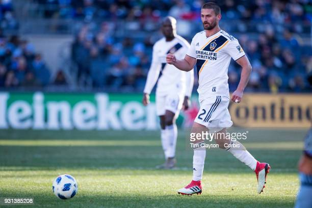 Perry Kitchen of Los Angeles Galaxy in action during the New York City FC Vs LA Galaxy regular season MLS game at Yankee Stadium on March 11 2018 in...
