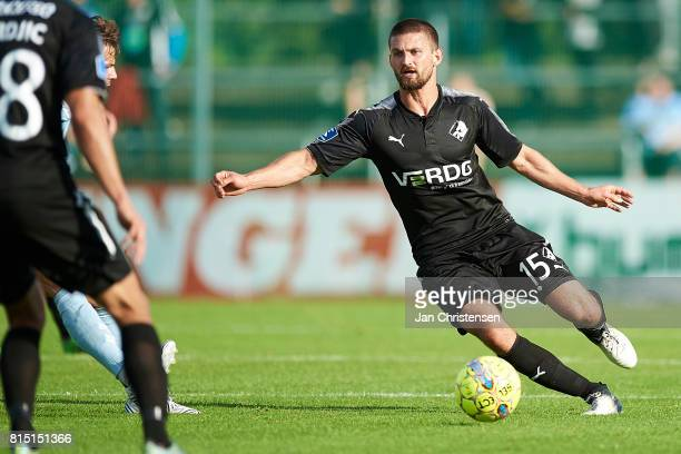 Perry Kitchen of Randers FC controls the ball during the Danish Alka Superliga match between SonderjyskE and Randers FC at Sydbank Park on July 15...