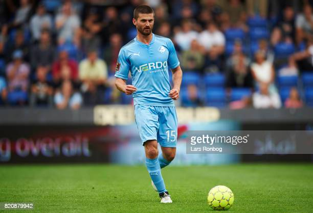 Perry Kitchen of Randers FC controls the ball during the Danish Alka Superliga match between Randers FC and FC Copenhagen at BioNutria Park on July...