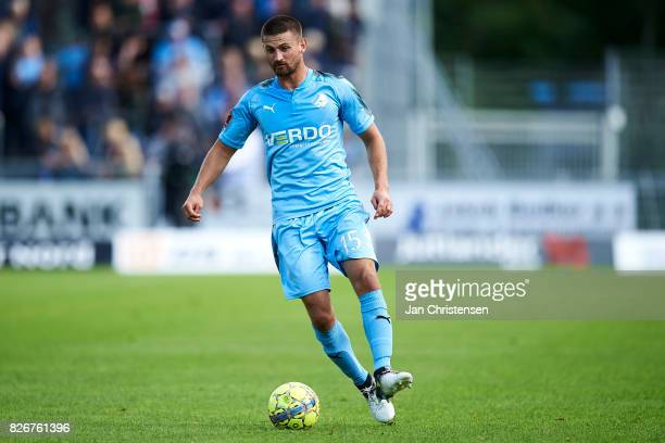 Perry Kitchen of Randers FC controls the ball during the Danish Alka Superliga match between Hobro IK and Randers FC at DS Arena on August 05 2017 in...