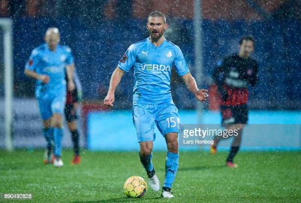 Perry Kitchen of Randers FC controls the ball during the Danish Alka Superliga match between Randers FC and FC Midtjylland at BioNutria Park on...