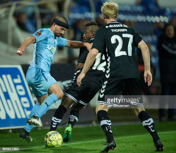 Perry Kitchen of Randers FC in action during the Danish Alka Superliga match between Randers FC and AC Horsens at BioNutria Park Randers on September...