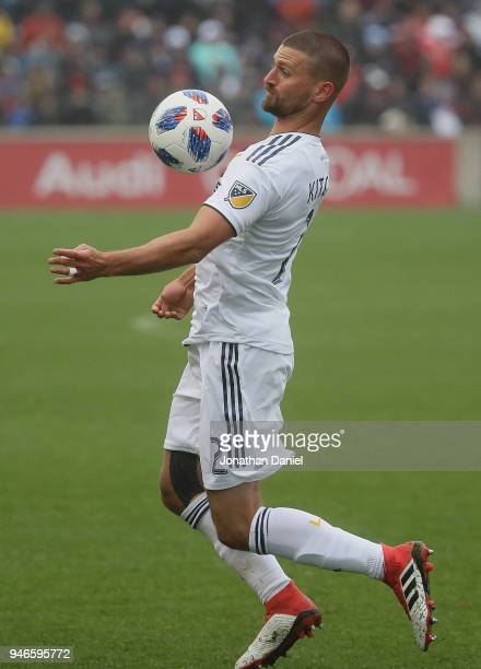 Perry Kitchen of the Los Angeles Galaxy takes a pass off of his chest against the Chicago Fire at Toyota Park on April 14 2018 in Bridgeview Illinois...