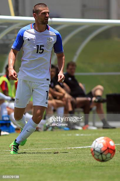 Perry Kitchen of USA drives the ball during an international friendly match between Puerto Rico and USA at Juan Ramon Loubriel Stadium on May 22 2016...