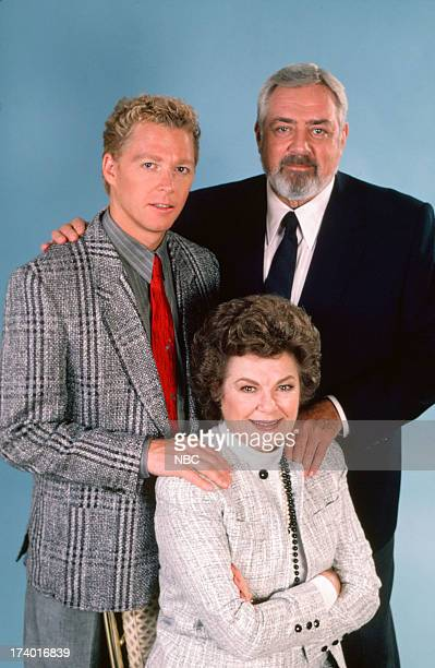 Perry Mason The Case of the Shooting Star Pictured William Katt as Paul Drake Jr Barbara Hale as Della Street and Raymond Burr as Perry Mason