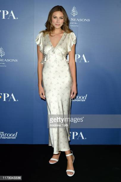 Perry Mattfeld attends The Hollywood Foreign Press Association and The Hollywood Reporter party at the 2019 Toronto International Film Festival at...