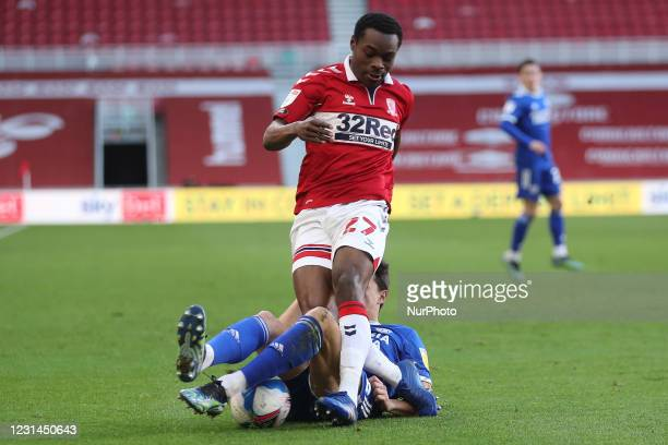 Perry Ng of Cardiff City battles with Marc Bola of Middlesbrough during the Sky Bet Championship match between Middlesbrough and Cardiff City at the...