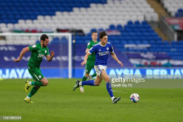 Perry NG of Cardiff City FC and Greg Cunningham of Preston North End during the Sky Bet Championship match between Cardiff City and Preston North End...