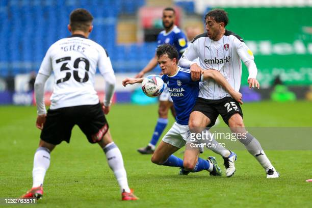 Perry NG of Cardiff City FC and Matt Crooks of Rotherham United during the Sky Bet Championship match between Cardiff City and Rotherham United at...